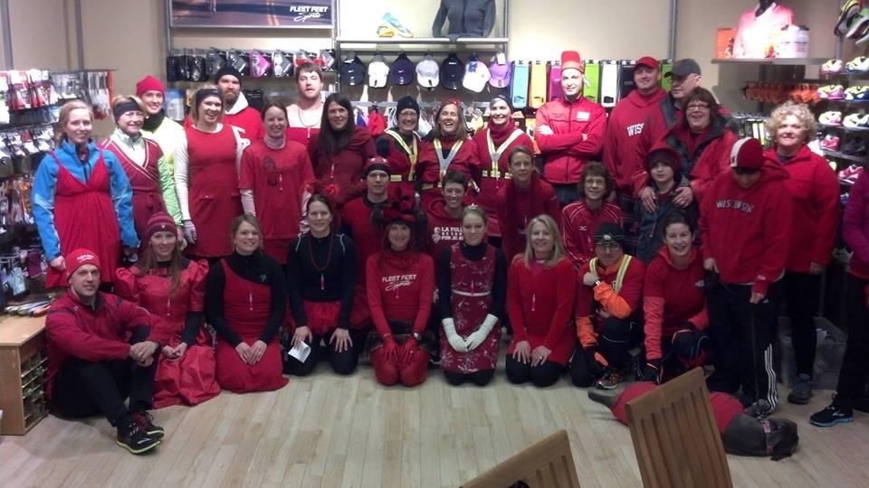 Red Dress Dash Team 242 at Fleet Feet Sports Madison