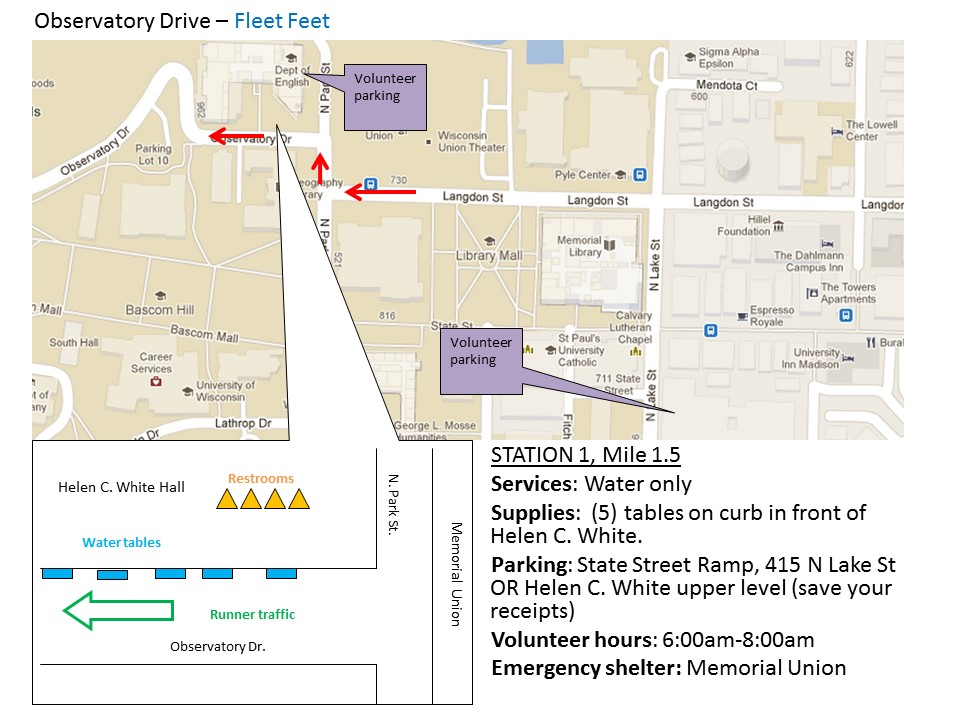 Fleet Feet Sports Water Stop for Madison Half Marathon Spring 2015
